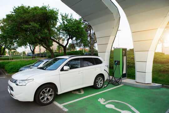 Electric SUV with a charging station