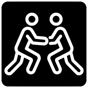 greco roman wrestling fight icon outline style vector Wrestling, Outline, Black, Greco, Roman, Icon, Fight, Roman, People, Isolated, Vector, Sport