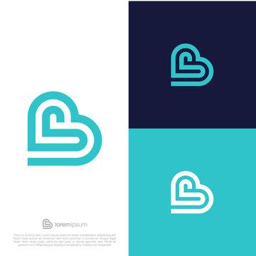 Initials B SB logo design. Initial Letter Logo. Heart vector symbol.