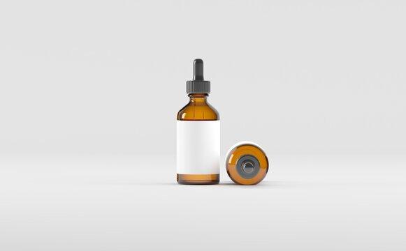 Dropper Bottle Mockup 3D Illustration - Two Bottles