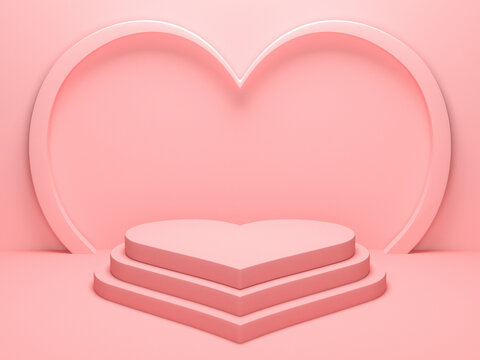 Pastel pink heart shaped podium stage backdrop for product display stand. 3d rendering