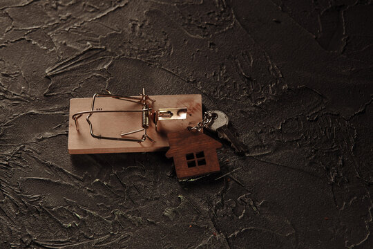 Mousetrap and house keys. Mortgage concept.