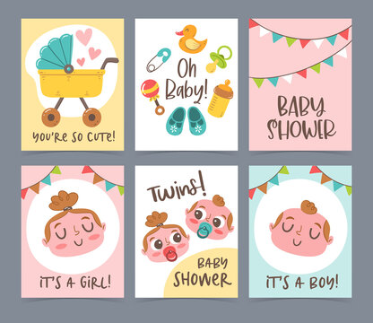 Cute vector hand drawn new born card collection. Baby shower gift cards and invitations. Little boy, little girl and twins.