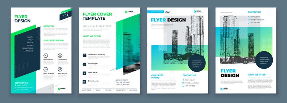 Flyer Design Set. Green Modern Flyer Background Design. Template Layout for Flyer. Concept with Dynamic Line Shapes. Vector Background.
