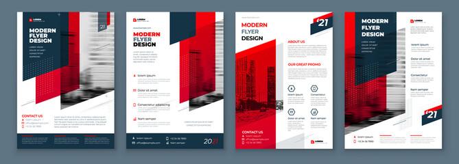 Obraz Flyer Design Set. Dark Red Modern Flyer Background Design. Template Layout for Flyer. Concept with Dynamic Line Shapes. Vector Background. - fototapety do salonu