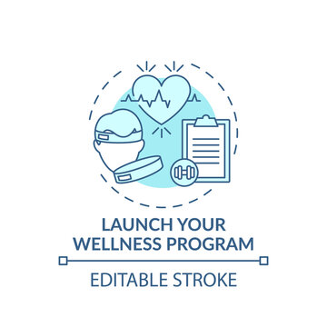 Launching wellness program concept icon. Workplace wellbeing idea thin line illustration. Personalized approach. Critical health issue. Vector isolated outline RGB color drawing. Editable stroke