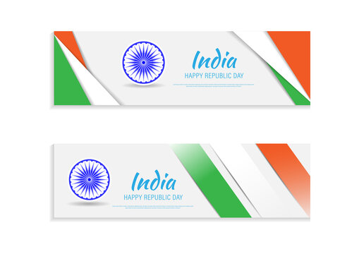 26 th January Indian Republic Day vector illustration background banner template with geometric shape Indian flag and Ashoka Chakra.