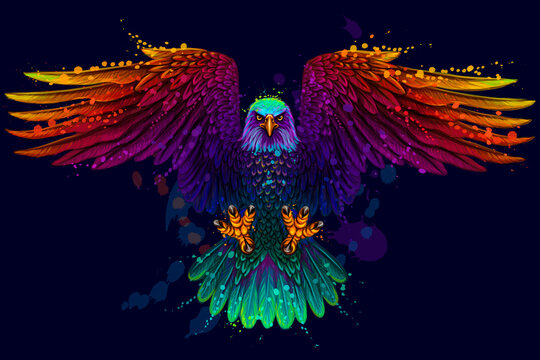 The eagle. Flying bald eagle.  Color, abstract, neon, art portrait of a soaring bald eagle on dark blue background in pop art style.  Digital vector graphics. Separate layers