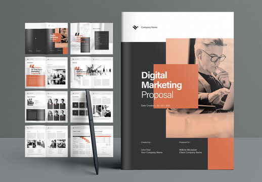 Digital Marketing Proposal Booklet Layout with Black and Brown Accents