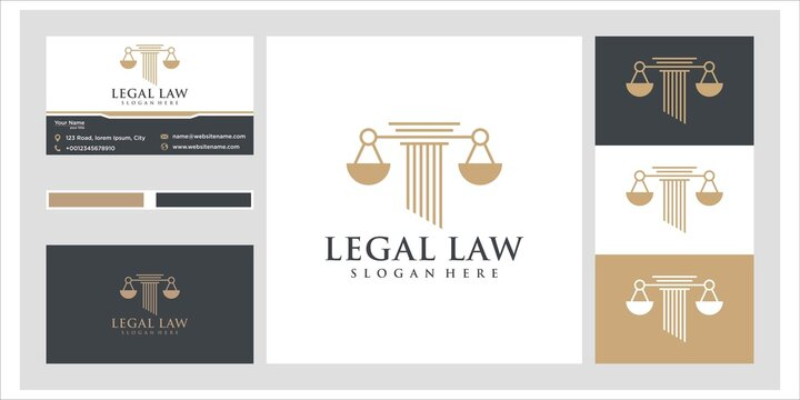 Symbol lawyer attorney advocate template linear style. company logotype and business card