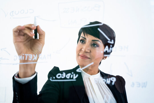Portrait of businesswoman writing on transparent wipe board