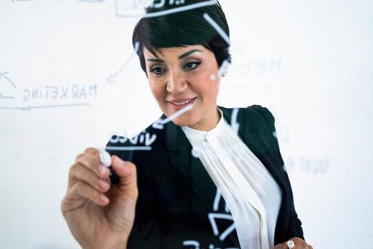 Portrait of businesswoman writing on transparent wipe board