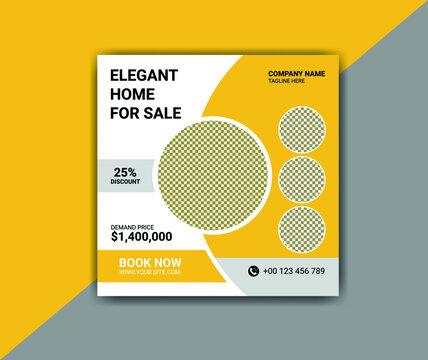 elegant real estate home sale for social media post square flyer template