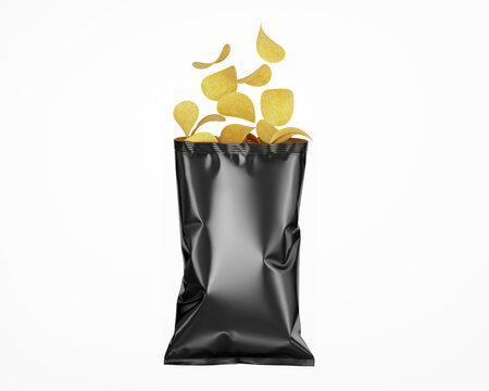 Dark Opened Glossy Snack Package Mockup - Isolated on White, Front View