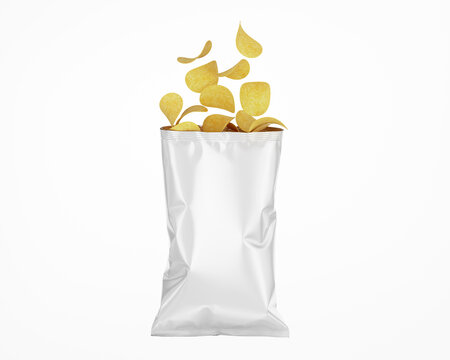 White Opened Glossy Snack Package Mockup - Isolated on White, Front View