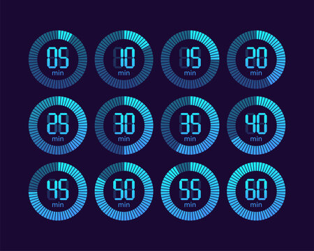 Collection with chronometer timer collection for web design. Clock face. Vector illustration.
