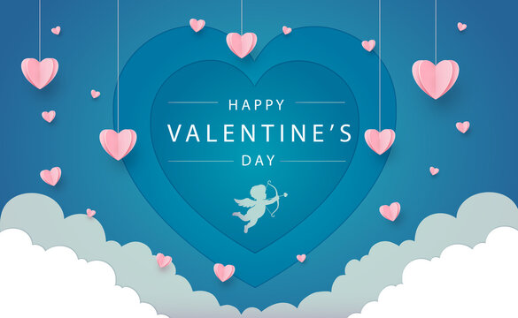 Abstract blue background with heart with congratulations on Valentine's day - Vector
