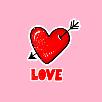 Vector red heart with arrow and love lettering. Cute romantic illustration, cartoon style.