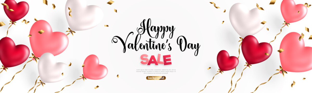 Valentine day background with festive realistic heart shape balloons with golden spiral ribbons. Vector illustration. Celebration banner design with rose pink, white and red baloon, flying confetti