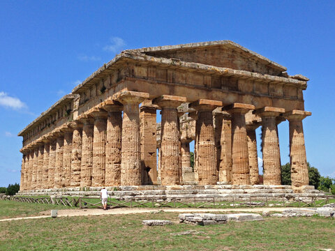 The ancient Greek Second Temple of Hera in Paestum Italy