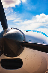 Single-engine aircraft propeller close up