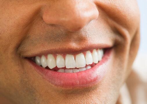 Close-up of man's perfect teeth