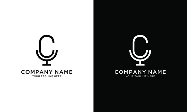microphone design logo, or monogram or initials letter C with microphone and crown