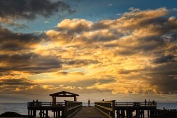Fototapeta Silhouette Pier On Sea Against Sky During Sunset obraz