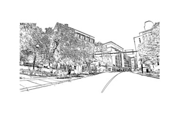 Building view with landmark of Dallas is the city in Texas. Hand drawn sketch illustration in vector. Wall mural