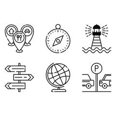 Fototapeta map, road sign, compass, lighthouse, glob icon vector obraz