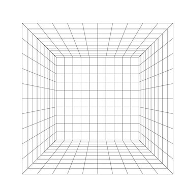 room perspective grid, 3d vector isolated on white