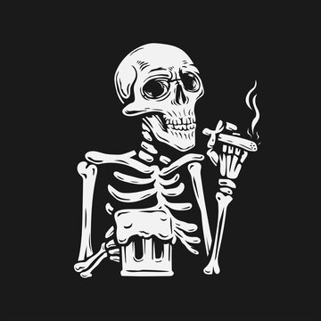 a skull holding a cigarette and a glass of beer. vector illustration background