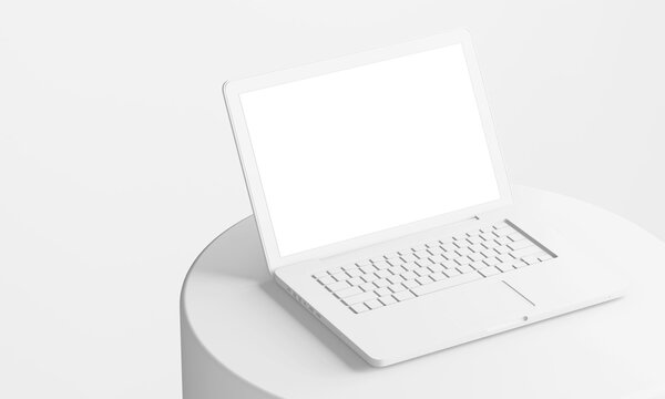 minimal white clay laptop on circular podium with blank empty screen display 3d illustration rendering in third composition perspective view
