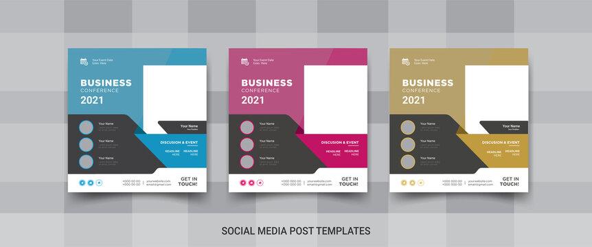 Business conference social media post, social media promotional banner design