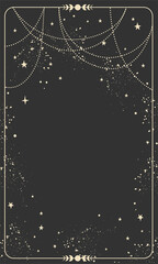 Obraz Vintage celestial mystical background for astrology, divination, tarot. Black postcard with a frame in a bohemian design, stars and jewelry, copy space. Magic vector illustration - fototapety do salonu