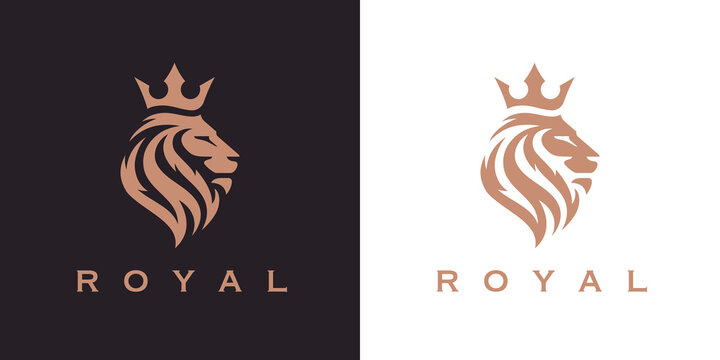 Royal Lion crown logo template. Elegant gold Leo crest symbol. Premium king brand identity icon. Luxury company sign. Vector illustration.