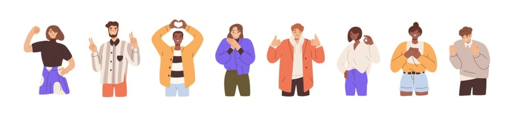 Set of happy people showing various positive emotions with gestures. Ok sign, clenched fist, thumbs up, victory fingers and hand heart. Colored flat vector illustration isolated on white background