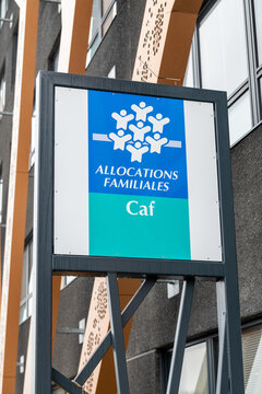 Calais, France - January 13, 2020  : Caisse allocations familiales logo sign of CAF building agency for Family Allowances Fund office