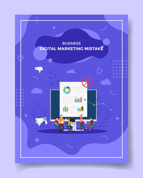 digital marketing mistake concept people discuss around computer monitor chart false for template of banners, flyer, books cover, magazine with liquid shape flat style