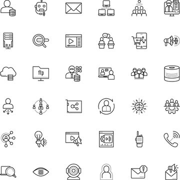 communication vector icon set such as: client, walkie-talkie, resources, behavioral, lecture, virus, covid-19, staff, telephone, coronavirus, card, play, leader, finance, government, engineer