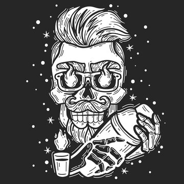 hipster skull bartender. hipster skull bartender emblem. Silhouette head vector isolated illustration. Brutal bearded face with a shaker and a burning shot white on a black background