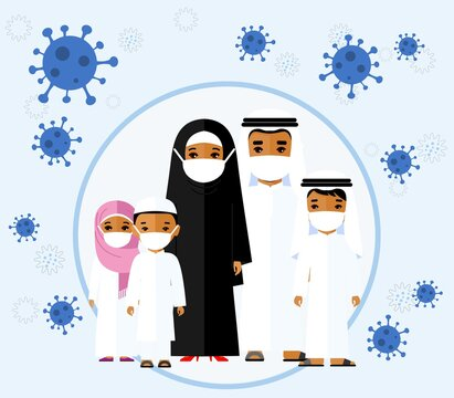 Arab family wearing protective medical mask protect them from COVID 19, coronavirus.