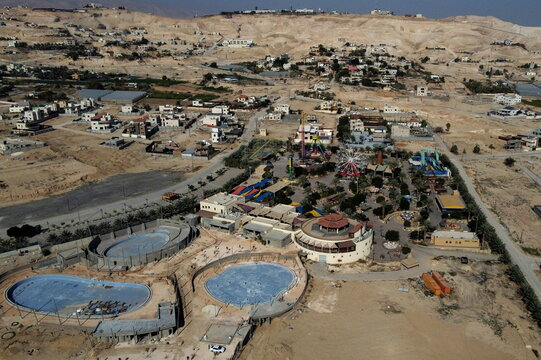 A picture taken with a drone shows an amusement park in Jericho, in the Israeli-occupied West Bank
