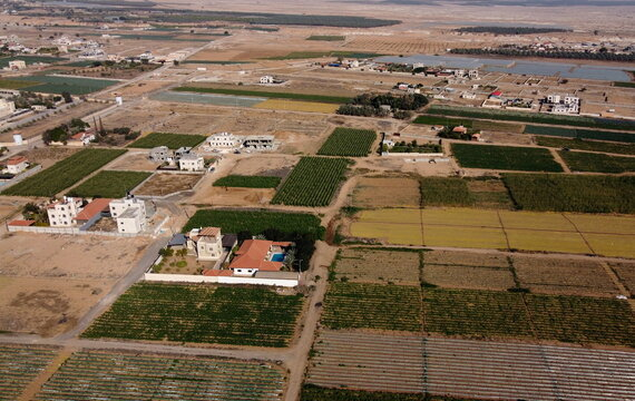 A picture taken with a drone shows Palestinian agricultural fields in Jericho, in the Israeli-occupied West Bank