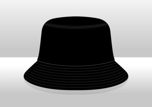 Blank Black Bucket Hat Isolated Vector On White Background