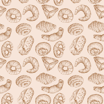 Seamless background of sketches various fresh baking