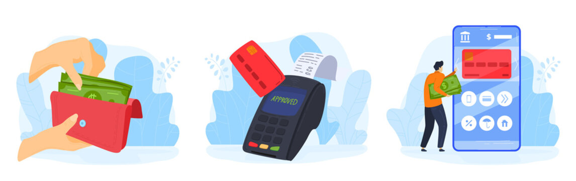People pay money service vector illustration set. Cartoon flat human hand holding wallet with cash, paying by credit card online, using mobile contactless payment via smartphone isolated on white