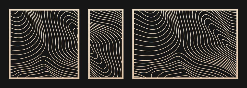 Laser cut panel set. Vector template with trendy abstract geometric pattern, curve lines, ripple surface. Decorative stencil for laser cutting of wood, metal, plastic, cnc. Aspect ratio 1:2, 1:1, 3:2