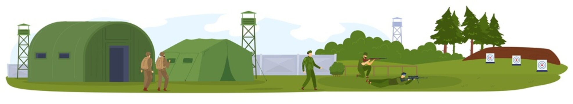 Military army force, base or camp with armed solgiers in camouflage vector illustration. War game landscape. Militarian people in uniform shooting. Milirarism. Green tents, combats.