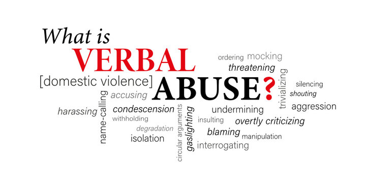 WHAT IS VERBAL ABUSE ? [DOMESTIC VIOLENCE] black and red vector word cloud
